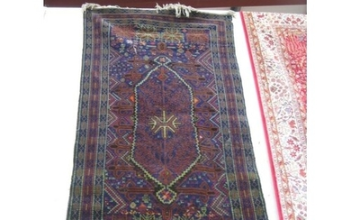 Blue Ground Persian Rug with Central Handwoven Medallian Pat...