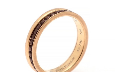 """Boucheron: A """"Quatre Classique"""" ring set with brown PVD, mounted in 18k rose gold. W. 3.8 mm. Size 50."""