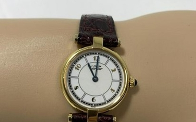 CARTIER PARIS WOMEN'S WATCH WITH LEATHER STRAP