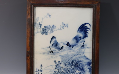 CHINESE ANTIQUE BLUE WHITE PORCELAIN PLAQUE - WANG BU