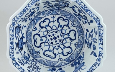CHINESE BLUE AND WHITE PORCELAIN BOWL Octagonal, with a shaped edge. Both interior and exterior with alternating fruit and flower pa...