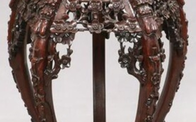 """CHINESE HAND CARVED TEAKWOOD STAND C. 1900 H 32"""""""