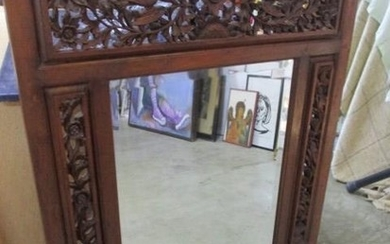 Carved Wood Wall Mirror with Bevelled Glass an Carved Birds ...