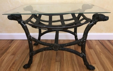 Cast Iron & Hand Wrought Bench w Dog Head Finials