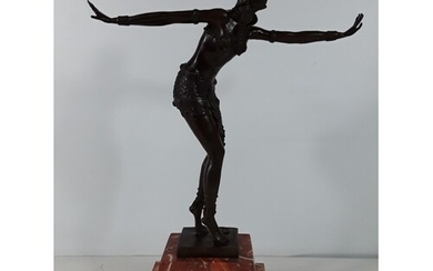 Cast bronze dancing girl on marble base approx 19 inches tal...
