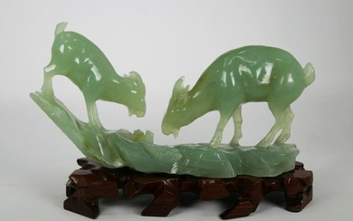 Chinese Apple Jade Carving of Goats