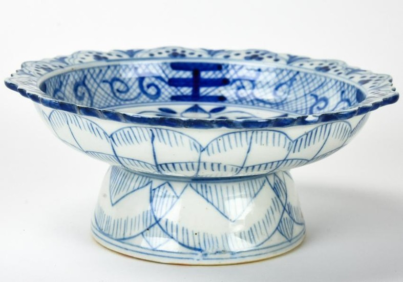 Chinese Blue & White Hand Painted Bowl on Stand