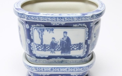 Chinese Blue & White Planter w Stand