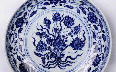 "Chinese Blue and White ""lotus scroll"" Dish"