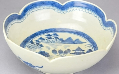Chinese Canton Blue & White Porcelain Bowl