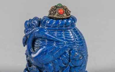 Chinese Carved Lapis Snuff Bottle