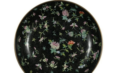 Chinese Famille Rose Black Ground Plate, Republic