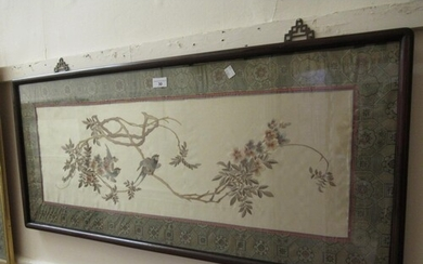 Chinese silk picture of birds in foliage in a patterned bord...