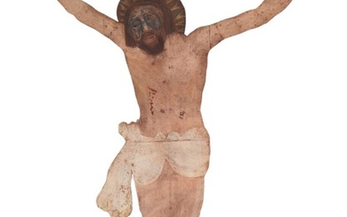 """Christ"". A 20th century painted metal wall decoration. H. 200. W. 145 cm."