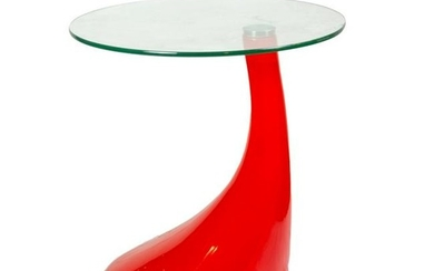 Contemporary Round Glass Red Acrylic Side Table