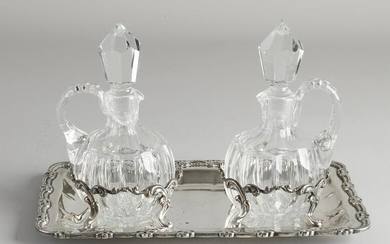 Crystal carafes set on silver tablet, 925/000, Two