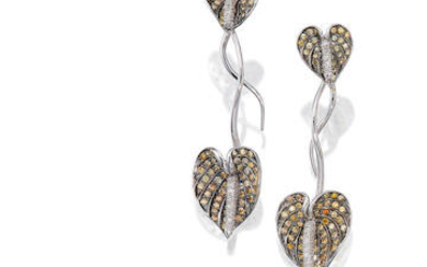 Cultured Pearl and Diamond Ring and Pair of Coloured Diamond and Diamond Pendent Earrings