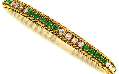 Diamond, Emerald, Gold Bracelet The bracelet features full-cut diamonds...