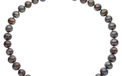 Diamond, Freshwater Cultured Pearl, White Gold Necklace The necklace...