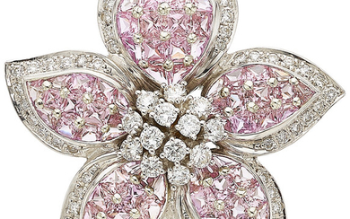 Diamond, Pink Sapphire, White Gold Brooch The brooch features...