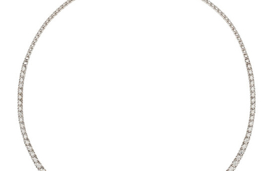 Diamond, White Gold Necklace The rivière necklace features full-cut...