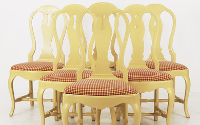 Dining chairs 6 pcs second half of the 20th century Matstolar 6 st 1900-talets andra hälft
