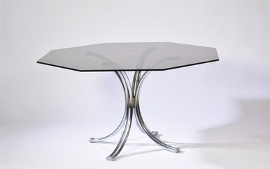 Dining room table, metal base, octagonal smoked glass...