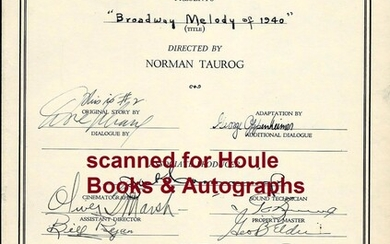 """Document Signed by 25 of the Cast and Crew of the 1940 MGM Musical Extravaganza """"Broadway Melody of 1940."""""""
