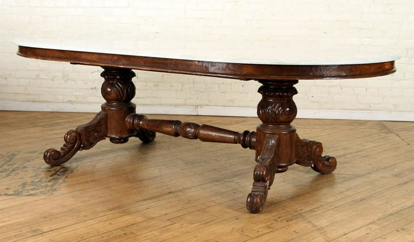 FRENCH OVAL MARBLE TOP DINING TABLE CARVED BASE