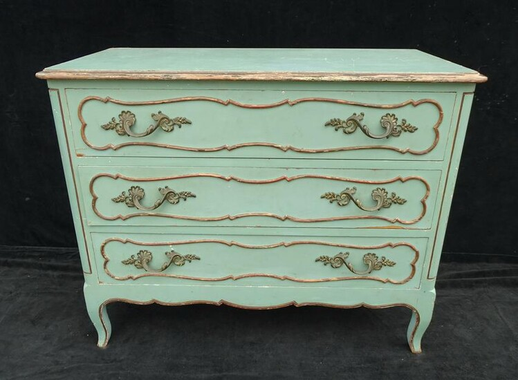 FRENCH STYLE PAINT DECORATED 3 DRAWER COMMODE