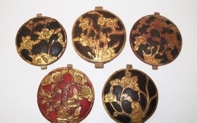 Five antique Chinese timber and gilt wooden panels with carv...