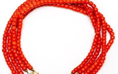 Four-row blood coral necklace, on 14 crt. gold...