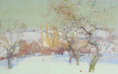 ‡Fred Cuming RA (b.1930) Winter landscape Signed Oil on board 59.5 x 59.5cm