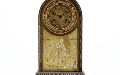 French Charles X-Louis Philip style table clock in gilt bronze, circa 1830-40.
