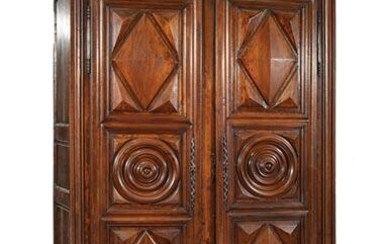 French Provincial Carved Walnut Armoire