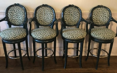 French Style Faux Bois Custom Upholstered Stools