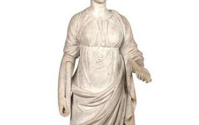 GRECO-ROMAN STYLE CARVED MARBLE FIGURE OF ATHENA