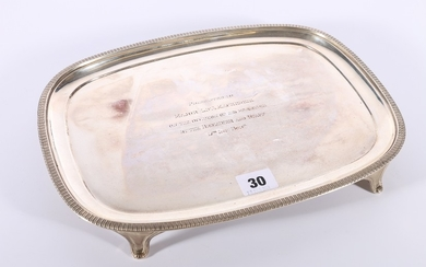 George V silver tray with baton border raised on four splaye...