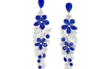Graff, A Pair of Sapphire and Diamond 'Carissa' Ear Pendants, Graff