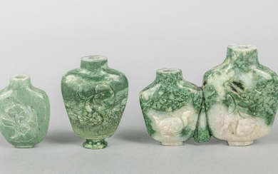 Group of Chinese Carved Jade Stone Snuff Bottles