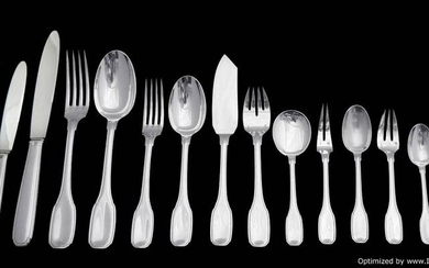 HB - ART DECO FRENCH STERLING SILVER FLATWARE SET 204pc