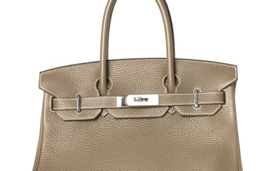 HERMÈS | ETOUPE BIRKIN 30 IN TOGO LEATHER WITH WHITE CONTRAST STITCHING AND PALLADIUM HARDWARE, 2013