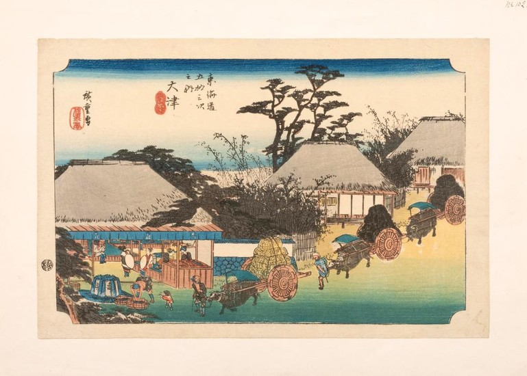 HIROSHIGE Depicting ox carts and cottages. From Kisokaido Station #69 Otsu.