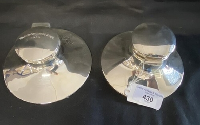 Hallmarked Silver: Capstan inkwell, one engraved 'Colchester...