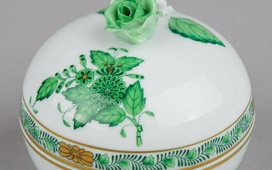 Herend Chinese Bouquet Green Bonbon Candy Box with Rose