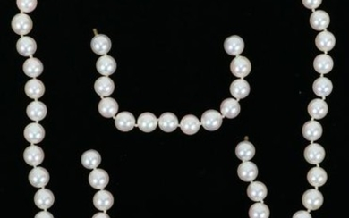 JAPANESE WHITE 6MM PEARL NECKLACE, TW. 46.3 GR.