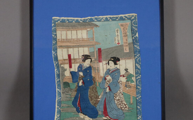 Japanese COLOR WOODCUT, probably 19th century.
