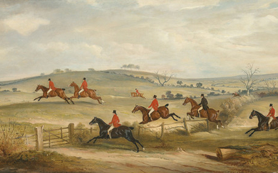 John Ferneley, Sen. (1781-1860), The Quorn Hunt in Full Cry, with Lord Rancliffe, Mr Francis Holyoake, Mr James Maxse on 'Cognac', Lord Elcho, Captain Horatio Ross, Mr John Ferneley, Mr Valentine Mayer, Sir Harry Goodriche and Squire Osbaldeston