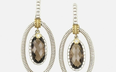 Judith Ripka Two, smoky quartz, silver, gold earrings