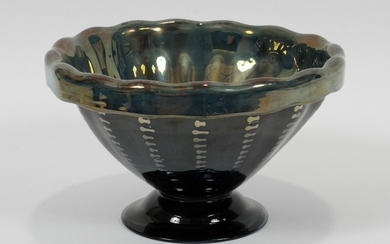 LIBBEY EXPERIMENTAL FOOTED GLASS BOWL 5.5 DIA